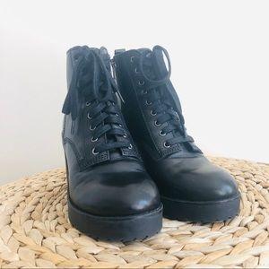 Steve Madden Black leather combat boots